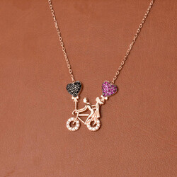 - 925 Ayar Bisikletli Sevgililer Gümüş Kolye