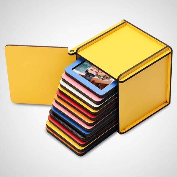 Ahşap Kutulu 12 Renkli Mini Polaroid Çerçeve