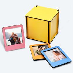 Ahşap Kutulu 12 Renkli Mini Polaroid Çerçeve - Thumbnail