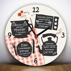- Annemin Mutfak Kuralları Duvar Saati