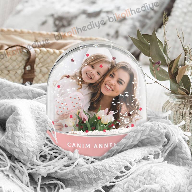 Anneye Hediye Fotoğraflı Kar Küresi