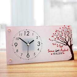 - Aşk Ağacımız Sevgililere Özel Cam Masa Saati
