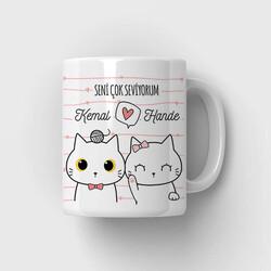 - Aşk Kedicikleri Mesajlı Kupa Bardak