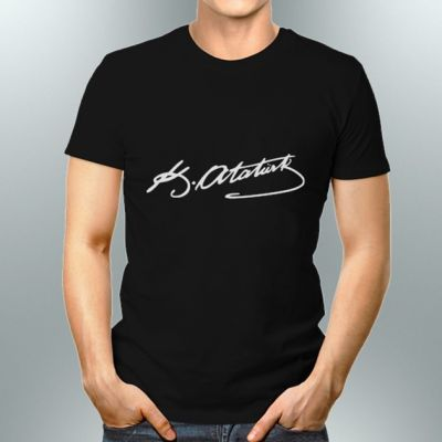 - Atatürk İmzalı Siyah Erkek Tişört