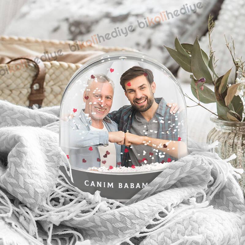 Babaya Hediye Fotoğraflı Kar Küresi