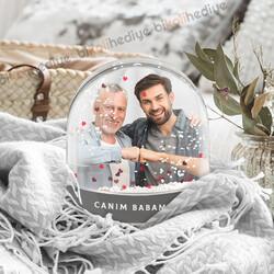 Babaya Hediye Fotoğraflı Kar Küresi - Thumbnail