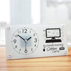 - Bilgisayar Mühendisine Hediye Cam Masa Saati