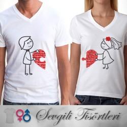 - Birleşen Kalpler Sevgili Tişörtleri