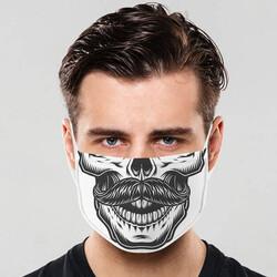 - Bıyıklı Kuru Kafa Tasarım Ağız Maskesi