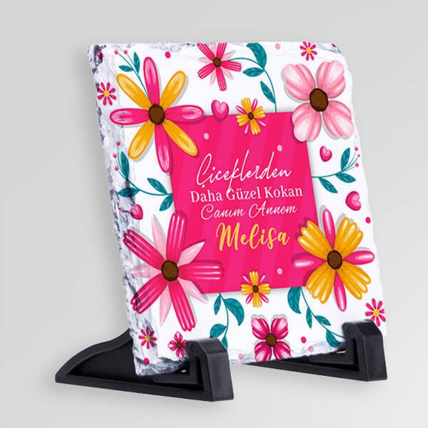 Çiçek Annem Mesajlı Taş Blok