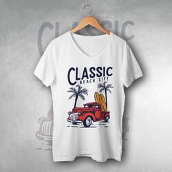 - Classic Beach Life Tasarım Tişört