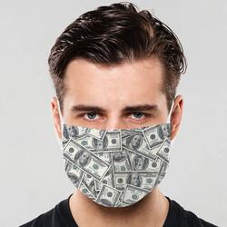 - Dolar Temalı Yıkanabilir Maske