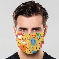 - Emoji Tasarımlı Yıkanabilir Ağız Maskesi