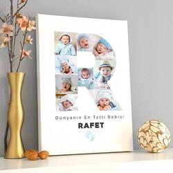 - Erkek Bebeğe Özel Fotoğraflı Harf Kanvas Tablo
