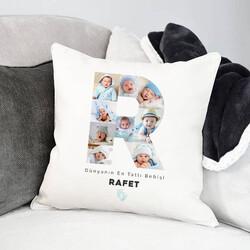 - Erkek Bebeğe Özel Fotoğraflı Harf Yastık