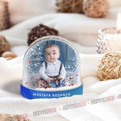 - Erkek Bebeklere Özel Fotoğraflı Kar Küresi