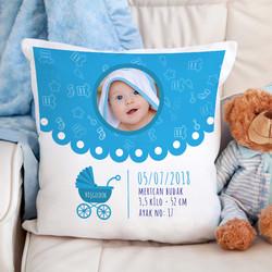 - Erkek Bebeklere Özel Fotoğraflı Kare Yastık