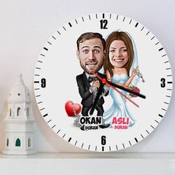 - Evlendik Ayvayı Yedik Karikatürlü Duvar Saati