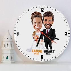 - Evlendik Mutluyuz Karikatürlü Duvar Saati
