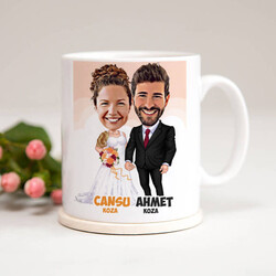 - Evlendik Mutluyuz Karikatürlü Kupa Bardak