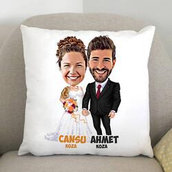 - Evlendik Mutluyuz Karikatürlü Yastık