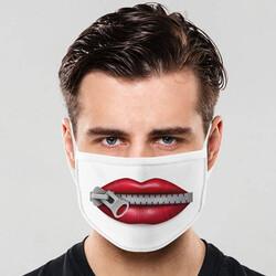 - Fermuarlı Dudak Tasarımlı Ağız Maskesi