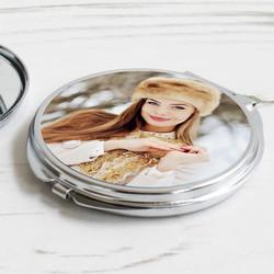 - Fotoğraf Baskılı Metal Makyaj Aynası