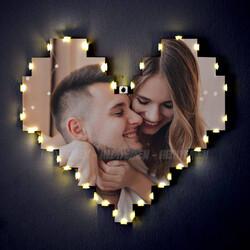 - Fotoğraflı Işıklı Kalp Pano