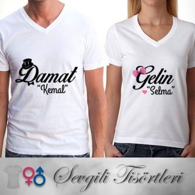 - Gelin ve Damat Sevgili Tişörtü