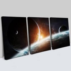 - Gezegen Tasarımlı 3 Parça Kanvas Tablo