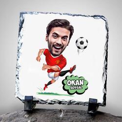 - Golcü Futbolcu Karikatürlü Taş Baskı