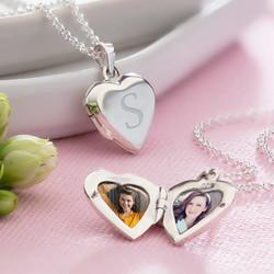 - Harfli ve Fotoğraflı Gümüş Kalp Kolye