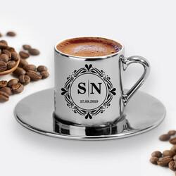 - Harfli ve Tarihli Silver Renk Kahve Fincanı