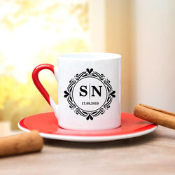 Harfli ve Tarihli Tasarım Kahve Fincanı - Thumbnail