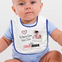 - İlk Anneler Günü Hediyesi Mama Önlüğü Mavi