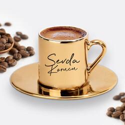 - İsme Özel Altın Renk Kahve Fincanı