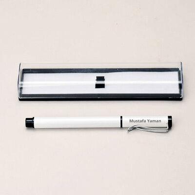 - İsme Özel Şeffaf Kutuda Beyaz Renk Kalem