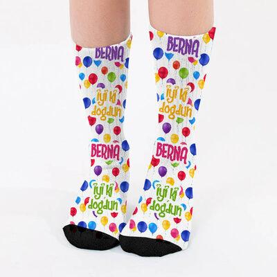 - İyi Ki Doğdun İsme Özel Kadın Çorabı