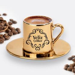 - Kadına Hediye Şık Gold Kahve Fincanı