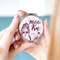 - Kadınlara Özel İsim Yazılı El Makyaj Aynası