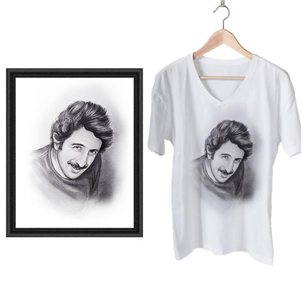 Karakalem Resim ve Baskılı Tişört