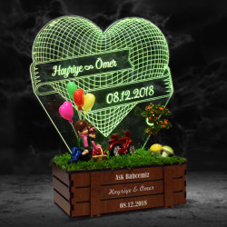Kişiye Özel 3D LED Lamba Minyatür Bahçe - Thumbnail