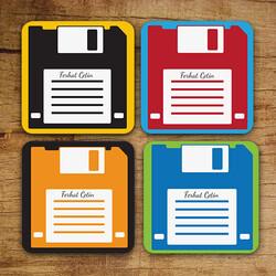 - Kişiye Özel Disket Bardak Altlığı Seti
