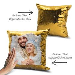 - Kişiye Özel Fotoğraflı GOLD Sihirli Yastık