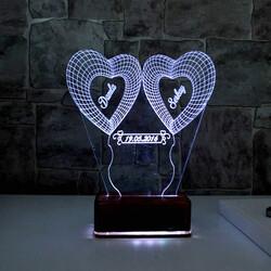 - Kişiye Özel Kalp Tasarımlı 3D Led Lamba