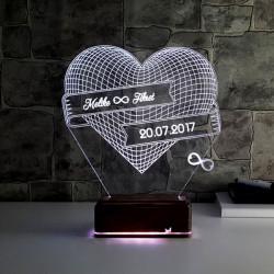 - Kişiye Özel Sonsuz Aşk 3D LED Lamba