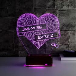 Kişiye Özel Sonsuz Aşk 3D LED Lamba - Thumbnail