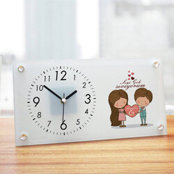 - Kişiye Özel Tasarım Romantik Cam Masa Saati
