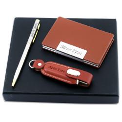 Kişiye Özel USB Kalem ve Kartvizitlik Seti - Thumbnail