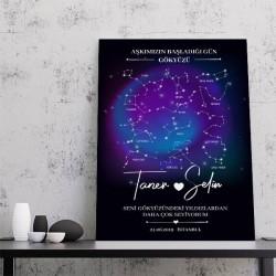 - Kişiye Özel Yıldız Haritası Kanvas Tablo